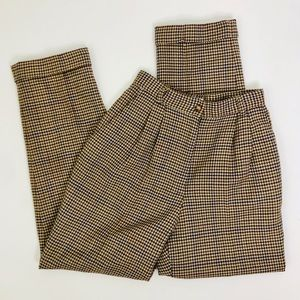 Vintage High Rise Mod Houndstooth Pleated Trousers